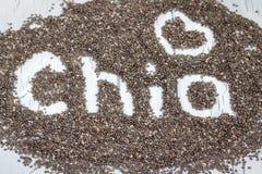 Wort gemacht von chia Samen Stockfotografie