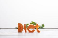 Wort gemacht von den frischen Karotten Stockbild