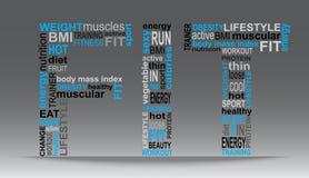 Wort GEPASST mit vielen Wörtern blau und schwarz Stockfotografie