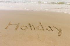 Wort geschrieben in den Strand Lizenzfreies Stockbild