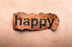 Wort glücklich. Motivation Stockbild