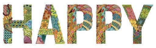 Wort glücklich Vektor dekorativer zentangle Gegenstand Lizenzfreie Stockfotos