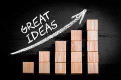 Wort-großartige Ideen auf aufsteigendem Pfeil über Balkendiagramm Stockbilder