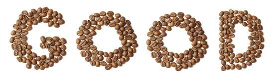 Wort GUTES vereinbart von den Kaffeebohnen lokalisiert Stockbilder