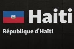 Wort-Haiti-Emblem, Text und Insignien-Thema Stockbild
