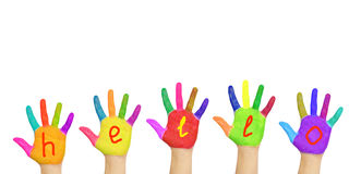 Wort hallo gemalt auf Händen stockbild