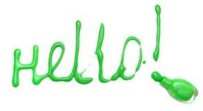 Wort hallo vom gegossenen Nagellack. Stockfoto