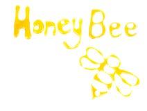 Wort-Honigbiene und Biene gezeichnet mit Honig Stockfotografie
