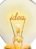 Wort-Idee in der Lampe Stockbild