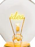 Wort-Idee in der Lampe Stockfotografie