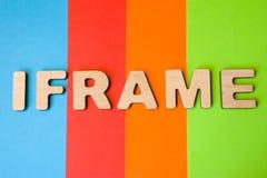 Wort Iframe, der aus Buchstaben 3D besteht, ist im Hintergrund von 4 Farben: blau, rot, Orange und Grün Iframe als HTML-Element o Lizenzfreies Stockbild