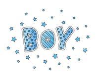 Wort-Junge mit Sternen Handbeschriftung Blaue Farben Drucken Sie für Karten, Mannhemd und Babykleidung Auch im corel abgehobenen  Lizenzfreie Stockfotografie