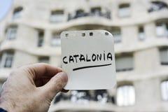 Wort Katalonien in einer Anmerkung lizenzfreies stockbild