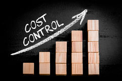 Wort-Kostenkontrolle auf steigendem Pfeil über Balkendiagramm Stockbild