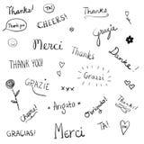 Wort-Kunstbeschriftung des Dankgekritzels Hand gezeichnete Stockfotos