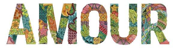 Wort LIEBE für die Färbung Vektor dekorativer zentangle Gegenstand Lizenzfreie Stockfotografie