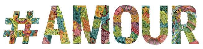 Wort LIEBE mit hashtag Vektor dekorativer zentangle Gegenstand Stockbild