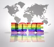 Wort-Liebe mit Regenbogen-Homosexuell-Flagge Stockbilder