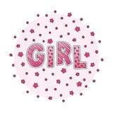 Wort-Mädchen mit Blumen Handbeschriftung Rosa Farben Drucken Sie für Karten, Frauenhemd und Babykleidung Auch im corel abgehobene vektor abbildung