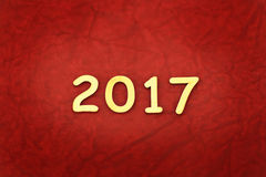 Wort 2017 machte mit Block hölzern Lizenzfreie Stockbilder
