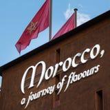 Wort Marocco-Emblem, Text und Insignien-Thema Lizenzfreie Stockbilder