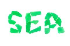 Wort MEER gemacht durch Seeglas Stockbilder