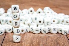 Wort mit Würfeln auf weißem Hintergrund Lizenzfreie Stockbilder