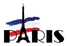 Wort Paris mit Markierungsfahne von Frankreich Stockfotos