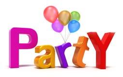 Wort-Party mit bunten Zeichen Lizenzfreie Stockbilder