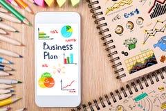 Wort-Plan-Ideen-Aktion und Geldsack Stockfoto