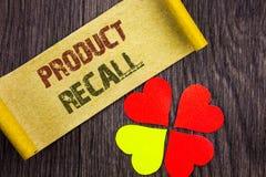 Wort, Schreiben, Text Rückruf eines fehlerhaften Produktes Begriffsfoto Rückruf-Rückerstattungs-Rückkehr für die Produkt-Defekte  Lizenzfreie Stockfotos