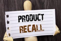 Wort, Schreiben, Text Rückruf eines fehlerhaften Produktes Begriffsfoto Rückruf-Rückerstattungs-Rückkehr für die Produkt-Defekte  Stockfotografie