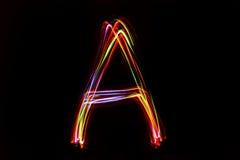 Wort ` A ` Schreiben vom Licht Stockfoto