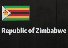 Wort-Simbabwe-Emblem, Text und Insignien-Thema Lizenzfreies Stockfoto