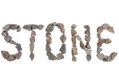 Wort-Stein gemacht mit kleinen Felsen Lizenzfreie Stockfotos