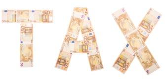 Wort-Steuer gemacht von den Banknoten Steuerbuchhaltung und Geschäftsführung stockbild