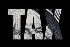 Wort STEUER herausgeschnitten vom Dollarschein lizenzfreie abbildung