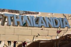 Wort Thailandia-Emblem, Text und Insignien-Thema Lizenzfreie Stockbilder
