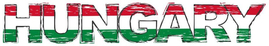 Wort UNGARN mit ungarischer Staatsflagge unter ihr, beunruhigter Schmutzblick lizenzfreie abbildung
