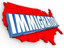 Wort USA der Immigrations-3d, die Vereinigte Staaten das Verbessern legal aufzeichnen, liegen Stockbild