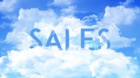 Wort VERKÄUFE in den Wolken, Farben des blauen Himmels lizenzfreie abbildung