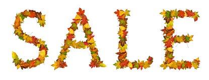 Wort VERKAUF gebildet von den Herbstblättern Stockbild