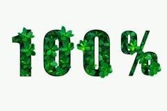 Wort 100% von den grünen Blättern lizenzfreie abbildung