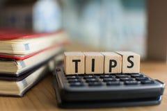 Wort von TIPPS buchstabierte mit bunten hölzernen Alphabetblöcken Selektiver Fokus, flache Schärfentiefe Lizenzfreie Stockfotografie