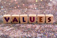 Wort von Werten stockbild