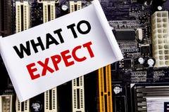 Wort, was schreibend zu erwarten Geschäftskonzept für Achieve Erwartung geschrieben auf klebrige Anmerkung, Hauptausschusshinterg Stockbild