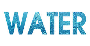 Wort-Wasser auf weißem Hintergrund Stockfoto