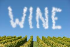 Wort-Wein als Wolke an einem blauen Himmel Lizenzfreie Stockfotos