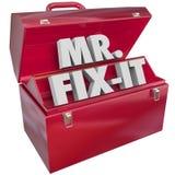 Wort-Werkzeugkasten-Heimwerker Herr-Herr Fix-It 3d Stockbilder