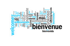 Wort-Willkommen übersetzt in vielen Sprachen Stockbild